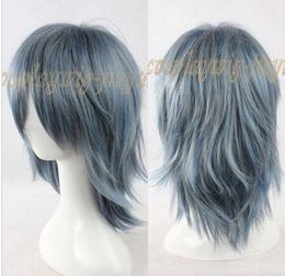 $enCountryForm.capitalKeyWord Australia - FREE SHIPPING + Fashion Grey Blue Mixed Straight Layered Short Medium Cosplay Anime Wig
