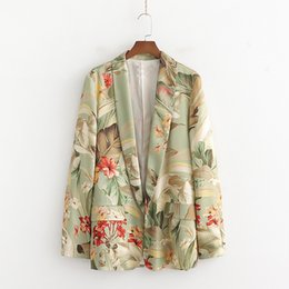 office suit cardigan NZ - Fashion 2020 Floral Print Blazer Women suits Lapel Collar Long Sleeve Cardigan Office Ladies Blazer Mujer