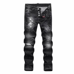 16bae18c2fc488 Men Distressed Ripped Jeans Fashion Designer Straight Motorcycle Jeans  Causal Denim Pants Streetwear Style mens Jeans free shipping SQL24