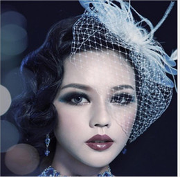$enCountryForm.capitalKeyWord Australia - European and American bride's headdress mesh hairdress feather cover face hairpin bow headdress