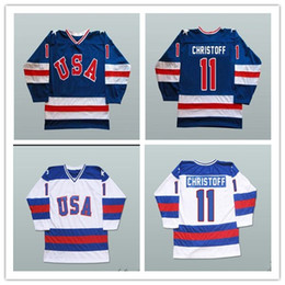 usa ice hockey jersey xxl Australia - Custom XS-5XL Men's 1980 Miracle On Ice Team USA Steve Christoff 11 Hockey Jersey Free Shipping