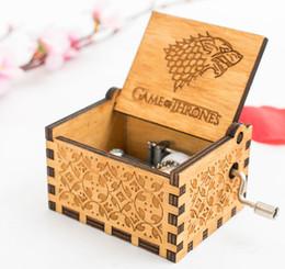 Game Thrones Direwolf Australia - 6.4cm Movie Game of Thrones Starck Family Direwolf Cosplay Props Hand Cranked Music Box Engraved Wooden Crafts Custom