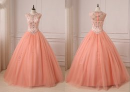 Make Coral Beaded Ball Bead Australia - Elegant Coral Sheer Neck Ball Gown Quinceanera Prom dresses Hollow Back with Zipper Tulle Crystal Bead Evening Formal pageant Sweet 16 Dress