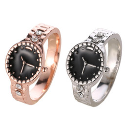 Discount indian watches - New Silver Rose Gold Creativity Watch Style Jewelry Black Enamel Fashion Jewelry Wedding Finger Ring Women Ring