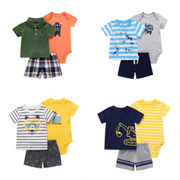 Wholesale boys polo t shirts resale online - Kids Boys Cartoon Outfits Design Toddler POLO T shirts Striped Romper Kids Dsigner Clothes Boy Dinosaur Splice Tops Elastic Shorts
