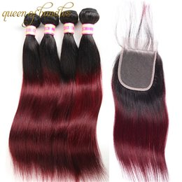 99j red straight human hair 2020 - Ombre Brazilian Straight Hair Bundles With Closure 1b 99j Red Ombre Remy Hair Extension 100% Brazilian Human Hair Bundle