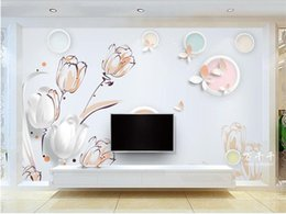Chinese  Custom Size 3D Photo Wallpaper Living Room Mural Simple Tulip Flower 3d Picture Sofa TV Backdrop Mural Home Decor Creative Hotel Wallpaper manufacturers