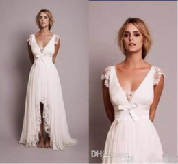 Image Dress Style NZ - Wholesale Vintage Lace Sheath Wedding Dresses with V Neck Cap Sleeve 2019 New Hi Lo Backless Country Style Beach Wedding Gowns 1302