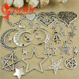 Moon Stars Charms Australia - 500g Antique tibetan silver plated love heart star moon charms vintage metal pendants for bracelet earring jewelry making ornament