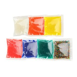 Toptan satış 9mm-10mm 10.000 adet / paket Katı Renk Orbeez Kristal Büyüyen Şişme Su Boncuk Büyüyen Topları Su Oyuncak için Tabanca Kristal Çamur Ev Dekor