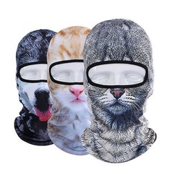 dog bicycle 2019 - 3D Animal Cat Dog Animal Balaclava Bicycle Bike Hats Snowboard Party Halloween Helmet Liner Winter Warmer Full Face Mask