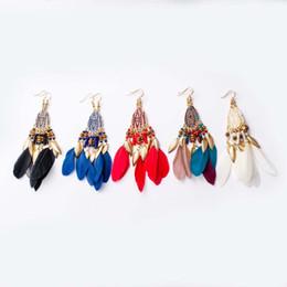 $enCountryForm.capitalKeyWord UK - Cross-border explosive Bohemian feather earrings long tassel earrings earrings European and American fashion jewelry