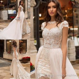 cheap wedding dress detachable skirt Australia - Sexy Cheap Beach Mermaid Wedding Dresses Jewel Neck Lace Applique Sweep Train Wedding Dress Bridal Gowns With Detachable Train Vestidos