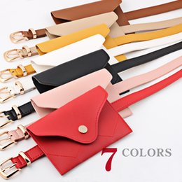 EnvElopE packing online shopping - 17styles Candy color Waist Belt Pack button decor Fashion PU Leather Women Belt Fanny Pack Travel Envelope phone coin Waist Bag FFA2002