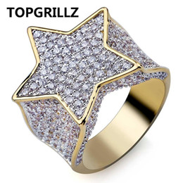 $enCountryForm.capitalKeyWord Australia - TOPGRILLZ Hip Hop New Custom Gold Color Plated Star Ring All Iced Out CZ Stone Rings Charm For Women Men Bling Party Jewelry
