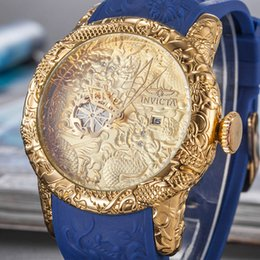 Wholesale 2019 hot sale automatic skeleton quartz watch for a man to leave the shore background transparent blue dial invicta Wristwatches