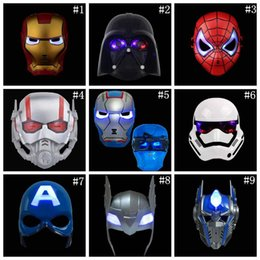 wholesale spiderman masks Australia - LED Glowing Lighting Mask Spiderman Captain America Hero Figure Party Mask Halloween Cosplay Costume Accessory 9 Colors LJJ_OA4798