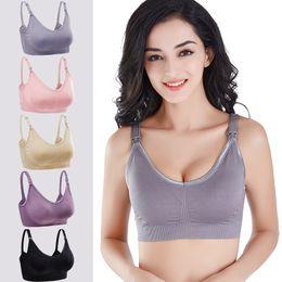 b1a9f547476 Nursing Breast Feeding Bra Pregnant Postpartum Push Up Bras Anti Drop Crop  Tops Elastic No Rims Adjustable underwear AAA1935