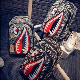 School bag wheel blue online shopping - 2019 New Cartoon Backpack Hip Hop Big Shark Mouth Pattern Funny Rucksack Casual Girls Leisure Travel School Bags Mochila