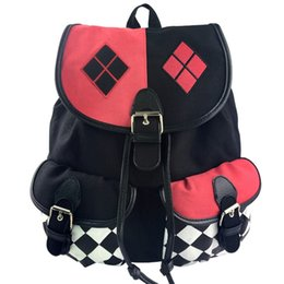 Wholesale quinn cosplay online – ideas Batman Suicide Squad Harley Quinn Backpack Harley Quinn Cosplay Knapsack Fashion Shoulder Drawstring Bags Popular High Capacity mc E1