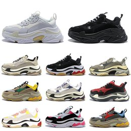 women casual shoes online NZ - Triple S Men Women 17FW Low Old Dad Casual Shoes Black White Platform Chaussures Mens Trainers Sports Sneaker Size 36-45 Online Sale