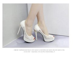 Hot Sexy White Dresses Australia - Hot Sexy lace upper Fish mouth shoes Openwork upper Stiletto sandals White professional high heels Simple OL style Wedding shoes Dress shoes