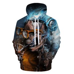 China 2018 Skull 3D Printed Hoodies Men Women Sweatshirts Hooded Pullover Brand Qaulity Tracksuits M-3XL supplier skull tracksuits suppliers