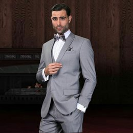 tuxedo suits for men slim NZ - Gentle Grey Men Suits for Wedding Groom Wedding Tuxedos Groomsmen Blazers Male Jacket Classic Costume Homme 3Piece Slim Fit Terno Masculino