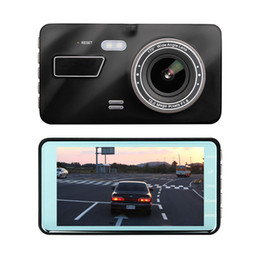 "camera rearview mirror full hd UK - Full HD 4"" car DVR dashcam 2Ch driving video recorder car black box 1080P 170° wide angle dual lens WDR G-sensor loop recording"