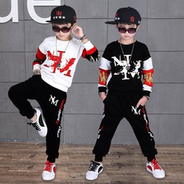 Hip Hop Clothing Babies NZ - Baby Boys Hip Hop Clothing 2019 New Hip Hop Sports Two-piece Set 4-12 Years Old Cotton O-neck Spring And Autumn Boy Letter Set J190513