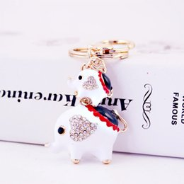 elephant gift craft NZ - Creative dripping oil craft small gift elephant key chain Women's bag accessories metal pendant