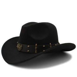 909ef7e58627 Wome Men Black Wool Chapeu Western Cowboy Hat Gentleman Jazz Sombrero  Hombre Cap Elegant Lady Cowgirl Hats Size 56-58cm Y19070503