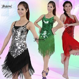 Latin Dancing Suit Australia - Latin dance fringed dance skirt stage performance clothing Lean back costumes Latin tassel sequins competition suit