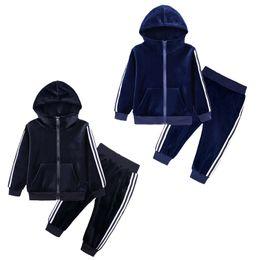 VelVet suit baby online shopping - Kids Clothing Sets Children sports suit baby boys gold velvet sweater Striped edge long sleeves zipper tops pants set clothes M176