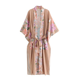 $enCountryForm.capitalKeyWord Australia - Robe deep blue Floral print Kimono sleeve Vacation Boho cardigan blouse Side Slits Gypsy blusa summer women bohemian beach holiday blouses