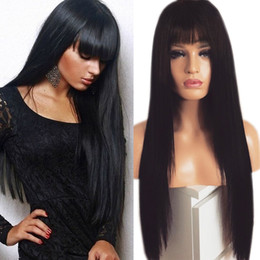 straight blonde synthetic wig Australia - Long natural black straight synthetic Wigs With Bangs Heat Resistant brazilian lace front wig Black   Brown Purple  Blonde Wig Free Shipping