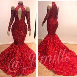 flowered dresses NZ - Luxury Dubai 3D Flowers Floral Red Sequin Prom Evening Dresses 2019 High Neck Long Sleeves Mermaid Formal Gowns Party Dress