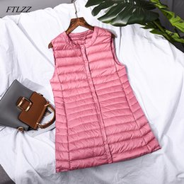 $enCountryForm.capitalKeyWord NZ - FTLZZ 2019 New Ultra Light Down Jacket Women White Duck Down Thin Vests Coat Female Single Breasted Outerwear