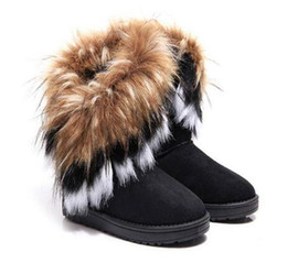 pvc synthetic hair Australia - Fashion Women's Boots Winter New Snow in The Tube imitation Fox Hair Ladies Cotton Boots Comfortable Warm Women's Boots