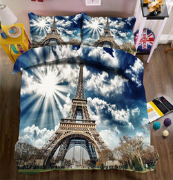 Wholesale twin towers for sale – custom New Beautiful D Bedding Set Tower Photos Bed sheets Queen Twin Full Duvet Cover Bed sheet Pillowcase set Fitted sheet
