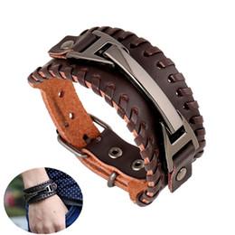wristbands style men 2019 - Leather Bracelet for Men Women Retro Genuine Leather Cuff Bracelets Brown Punk Style Cuff Wristband Bracelet Metal Press