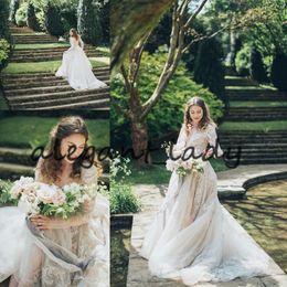 $enCountryForm.capitalKeyWord UK - Long Sleeve Countryside Wedding Dresses 2019 Luxury Full Lace Applique Princess Big Chapel Train Outdoor Garden Bridal Wedding Gown