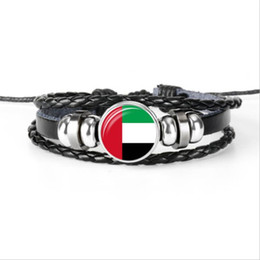 Footballs For Sale UK - Hot Sale Glass Cabochon United Arab Emirates National Flag World Cup Football Fan Jewelry Cowhide Leather Rope Beaded Bracelet For Women Men