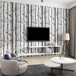 Roll White Paper Australia - Nordic Black White Tree Wallpaper Murals 3d Forest Living Room Wall Paper Roll Home Decoration Nature Wallpapers Mural Ez138