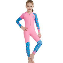 $enCountryForm.capitalKeyWord Australia - Kids Girls One Piece Swimsuit Summer Long Sleeve UV Protection Surfing Diving Swimming Suit Girls Clothes Beach Holiday Costume