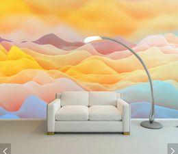 Art Paper Rolls Australia - Yellow Cloud Sand Wallpaper 3D Mural for Living Room Art Wall Decals Wall Mural Paper Contact Paper Roll Custom Decor
