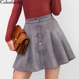 faux leather skater skirt UK - Colorfaith 2018 Women Multi Colors Suede A-Line Mini Skirt Autumn Winter Buttons Girls Skater Skirt High Waist Femininas SK5550 Y200326