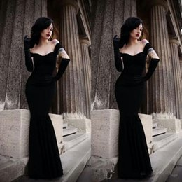 Wholesale black sexy jacket for sale - Group buy Sexy Evening Velvet Dresses Fitted Mermaid Off the Shoulder Sleeveless Trumpet Floor Length Custom Made Cheap Black Prom Party Gowns Gothic