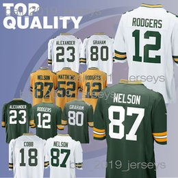 c91ff4c22af Rodgers Football Jersey UK - Packer jerseys 12 Aaron Rodgers Clay 52  Matthews 23 Jaire Alexander