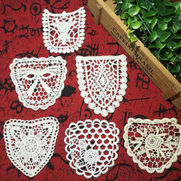 embroidery lace clothing wholesale Canada - White cotton embroidery fabric lace patch trim clothes wedding dress diy applique scrapbooking rose flower bowknot vintage